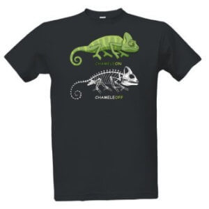 Tričko s potiskem a nápisem chameleon chameleoff