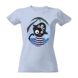Tričko s potiskem kocour pirát