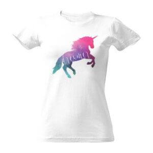 Dámské tričko s potiskem Vesmírný jednorožec