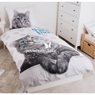 3D bavlněné povlečení Mourovaté kotě 140x200