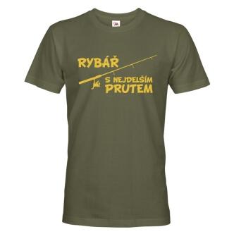 Rybářské tričko s potiskem Rybář s nejdelším prutem