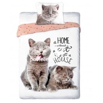 3D bavlněné povlečení Dvě stříbrné kočky 140x200