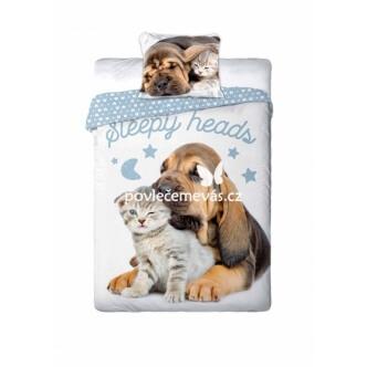 3D bavlněné povlečení Pes a kotě Sleepy Heads 140x200