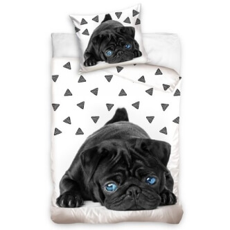 3D bavlněné povlečení pes Mops s modrýma očima 140x200