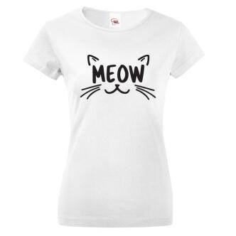 Dámské tričko s kočkou s potiskem Meow