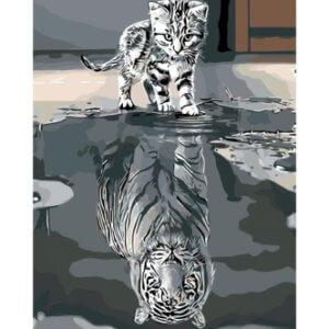 Malování na plátno podle čísel Kotě nebo tygr?
