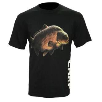 Černé rybářské tričko s potiskem Carp