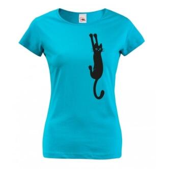 Dámské tričko s potiskem černé kočky držící se drápky